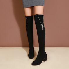 De mujer Cuero Tacón ancho Botas sobre la rodilla Dedo del pie puntiagudo con Cremallera Color sólido zapatos