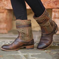 De mujer PU Tacón ancho Botas de equitación Encaje con Rivet Cremallera zapatos