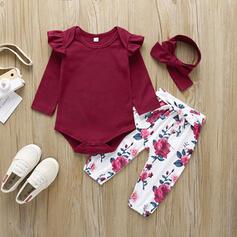 3 piezas Bebés niñas Bowknot Floral Sólido Algodón Configura El Tamaño