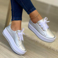 Women's PU Platform Flats With Lace-up Solid Color shoes