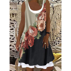 Print/Floral/Color Block Sleeveless Shift Knee Length Casual/Vacation Tank Dresses