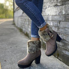 Women's PU Chunky Heel Ankle Boots Snow Boots Round Toe Winter Boots With Buckle Faux-Fur shoes