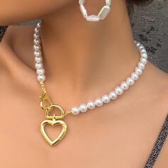 Atractivo Corazón Aleación con Perlas de imitación Collares