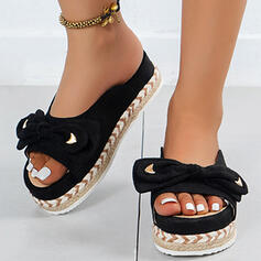 Women's PU Flat Heel Sandals Platform Peep Toe Slippers With Bowknot Solid Color shoes