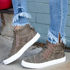 Women's Denim Flat Heel Flats With Lace-up Solid Color shoes