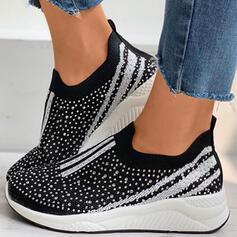 De mujer Tela Malla Tacón plano Planos con Rhinestone Color de empalme zapatos