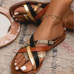 Women's PU Flat Heel Sandals Flip-Flops With Animal Print Hollow-out Splice Color shoes