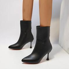 Women's PU Stiletto Heel Ankle Boots Pointed Toe With Zipper shoes