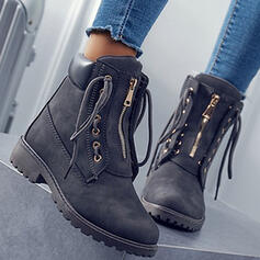 Women's PU Chunky Heel Ankle Boots Low Top With Zipper Lace-up shoes