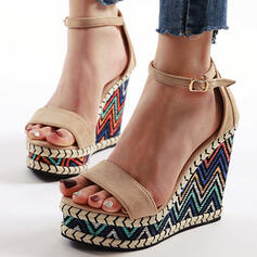 Women's PU Wedge Heel Sandals Pumps Peep Toe Slippers With Buckle shoes
