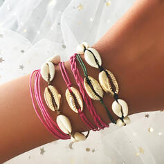 Boho Layered Alloy Braided Rope With Shell Women's Ladies' Bracelets 6 PCS