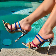 Women's PU Stiletto Heel Sandals Pumps Pointed Toe With Animal Print Splice Color shoes