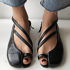 Women's PU Flat Heel Flats Mary Jane Round Toe With Hollow-out Solid Color shoes