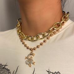 Fashionable Sexy Vintage Layered Alloy Rhinestones With Rhinestone Women's Ladies' Necklaces 2 PCS