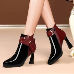 Women's PU Chunky Heel Boots With Zipper Splice Color shoes