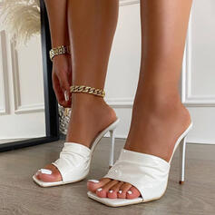 Women's PU Stiletto Heel Sandals Pumps Square Toe With Others shoes