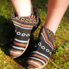 De mujer Tela Tacón plano Botas al tobillo Encaje con Cordones Color de empalme zapatos