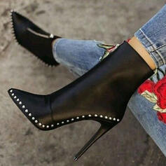 Women's PU Stiletto Heel Pumps Pointed Toe With Rivet Zipper shoes