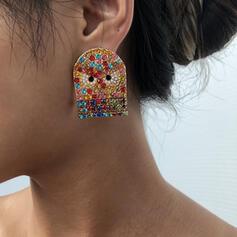 Luminoso Colorido Búho lindo Bohemio Halloween Aleación Diamantes de imitación Pendientes 2 piezas