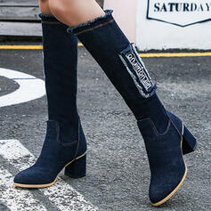 Women's Denim Chunky Heel Boots Knee High Boots With Tassel Solid Color shoes