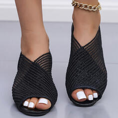 Women's Cloth Mesh Low Heel Sandals Peep Toe Slippers With Solid Color shoes