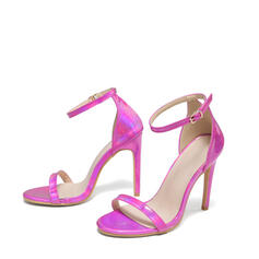 Women's PU Stiletto Heel Sandals Pumps Peep Toe Square Toe With Buckle Hollow-out shoes