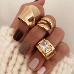 Boho Infinity Copper Glass With Imitation Stones Rings 3 PCS