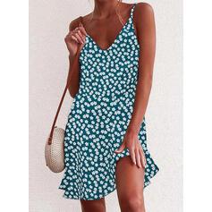 Print/Floral Sleeveless Shift Above Knee Casual Slip Dresses
