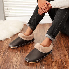 Women's Suede Flat Heel Flats Round Toe With Faux-Fur Solid Color shoes
