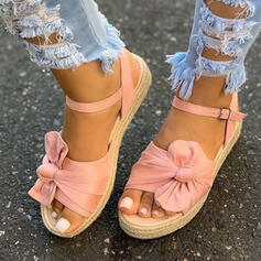 De mujer Tela Tacón plano Sandalias Plataforma Cuñas Encaje con Bowknot Hebilla Agujereado zapatos