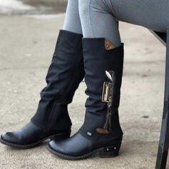 Women's PU Chunky Heel Knee High Boots Martin Boots Round Toe With Buckle Zipper Splice Color shoes