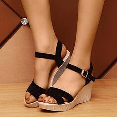 De mujer PU Tipo de tacón Sandalias Plataforma Cuñas con Hebilla Agujereado zapatos