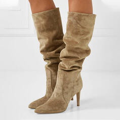 Women's Suede Stiletto Heel Mid-Calf Boots Pointed Toe With Ruched Solid Color shoes