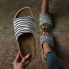 Women's PU Flat Heel Sandals Flats Peep Toe Slippers With Animal Print shoes