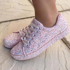 De mujer Brillo Chispeante Tacón plano Planos Top bajo con Cordones zapatos