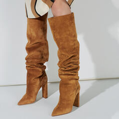 Women's Suede Chunky Heel Knee High Boots Winter Boots With Solid Color shoes