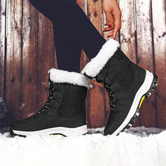 Women's Cloth Flat Heel Snow Boots Round Toe Winter Boots With Lace-up Splice Color shoes