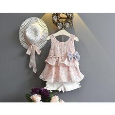 3-pieces Toddler Girl Bowknot Floral Print Chiffon Set