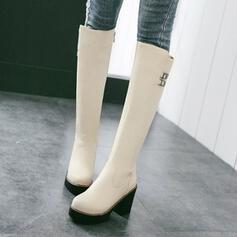 De mujer PU Tacón ancho Plataforma Botas a la rodilla Encaje con Hebilla Color sólido zapatos