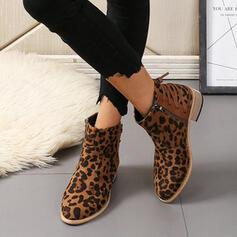 De mujer Cuero Tacón ancho Botas al tobillo Encaje con Estampado de animales zapatos