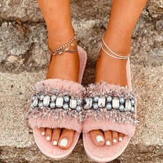 Women's Suede Flat Heel Peep Toe Slippers With Beading Faux-Fur Patchwork shoes