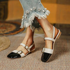 Women's PU Low Heel Sandals Flats Closed Toe With Buckle Hollow-out Splice Color shoes