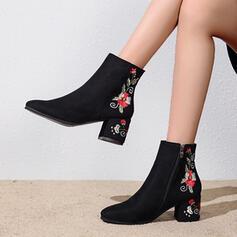 De mujer Ante Tacón ancho Botas al tobillo Encaje con Cremallera Flor zapatos