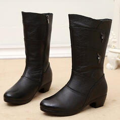 De mujer PU Tacón ancho Botas longitud media Encaje con Color sólido zapatos