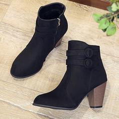 De mujer Cuero Tacón ancho Botas al tobillo Encaje con Hebilla Color sólido zapatos