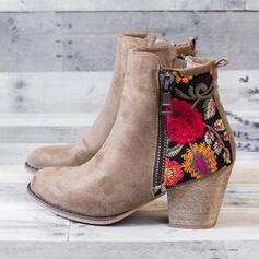 De mujer PU Tacón ancho Botas al tobillo Encaje con Cremallera Bordado zapatos