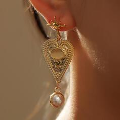 Encanto Artístico Aleación La perla de faux con Corazón Pendientes 2 piezas