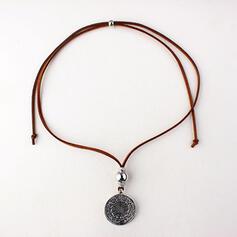Vintage Elegant Romantic Alloy Leather With Coin Décor Circle Decor Women's Ladies' Unisex Necklaces