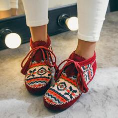 De mujer Ante Tacón plano Planos con Color de empalme Vendaje zapatos