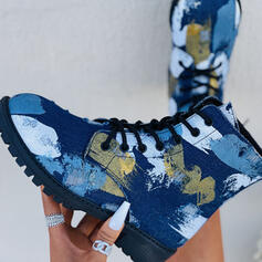 Women's Denim Chunky Heel Boots With Lace-up shoes
